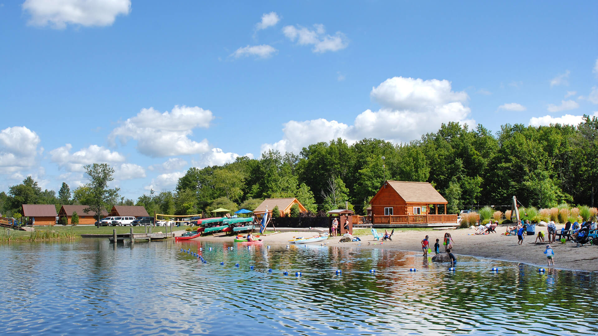 beach area for boating and swimming at Branches of Niagara Campground Resort, Grand Island, NY
