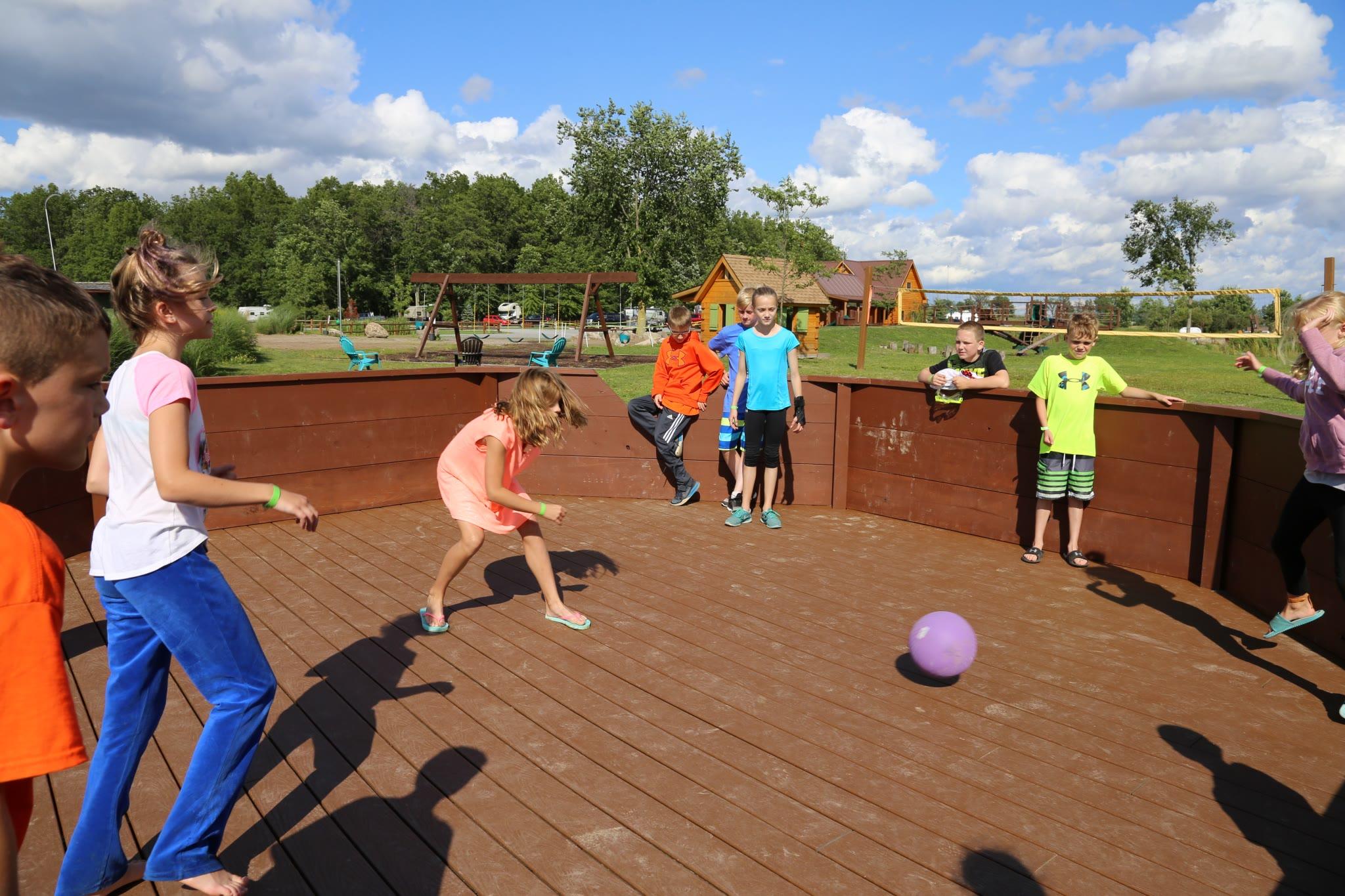 children playing gaga ball