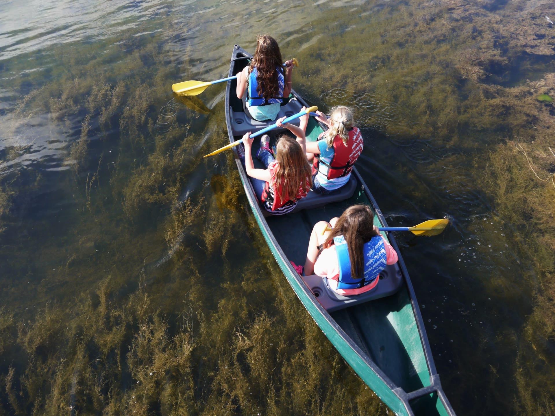 Four children in a canoe