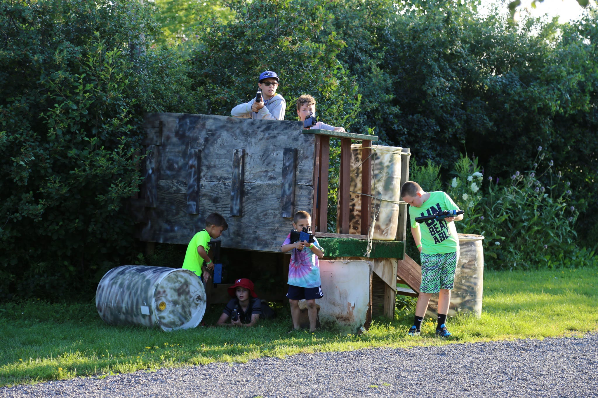 children playing outdoor laser tag