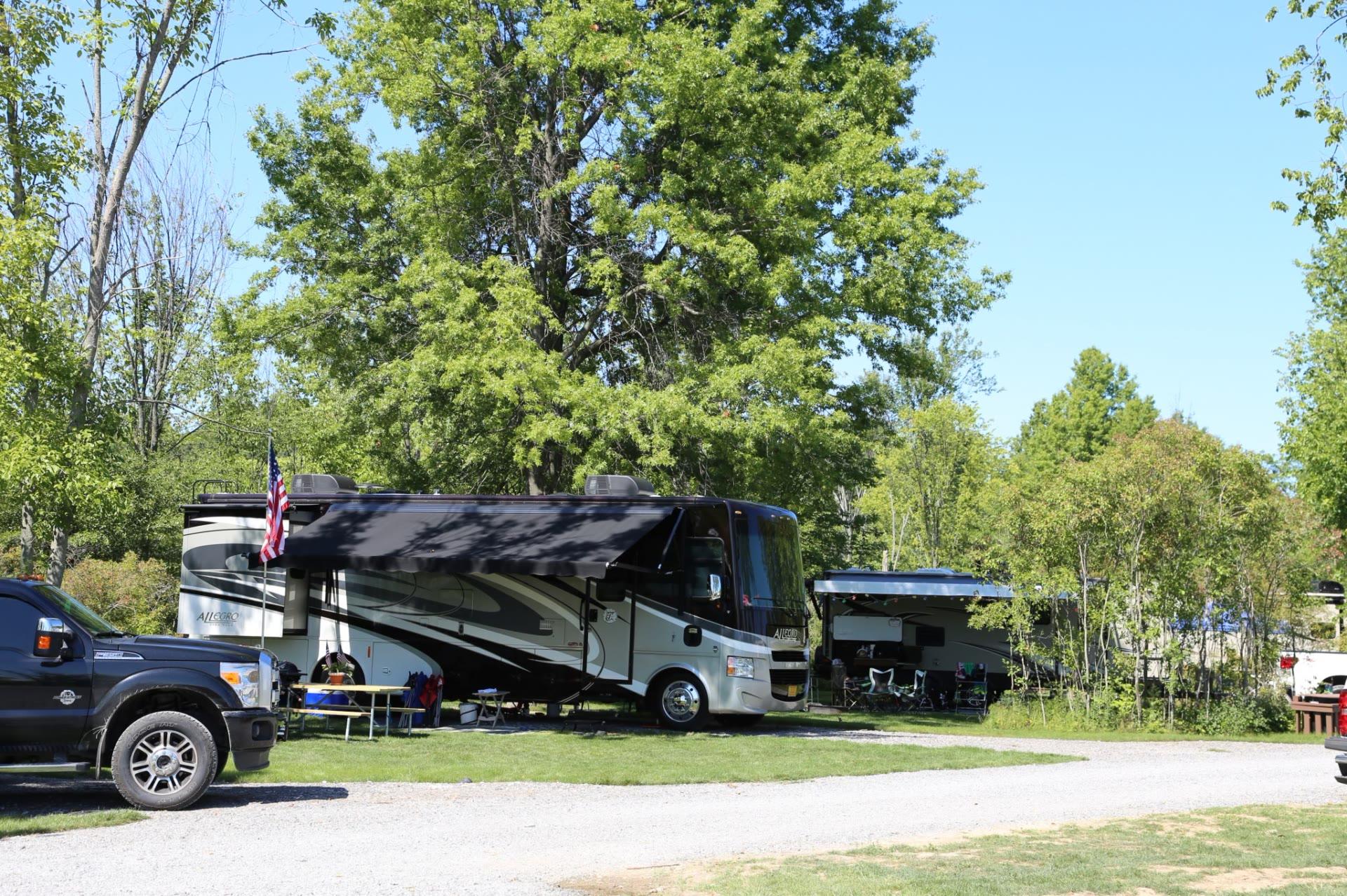Several RVs at campground
