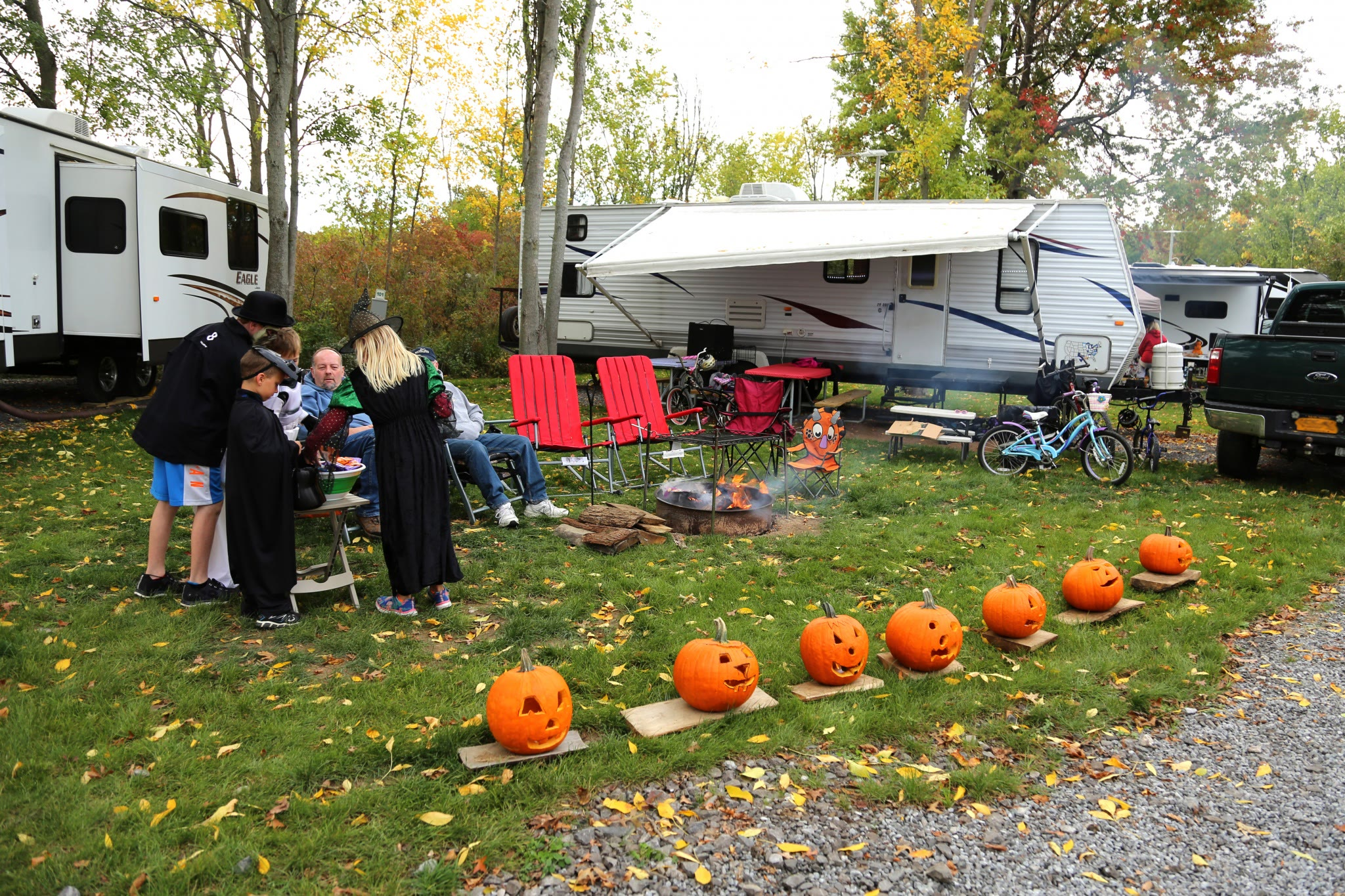 RV site decorate with pumpkins
