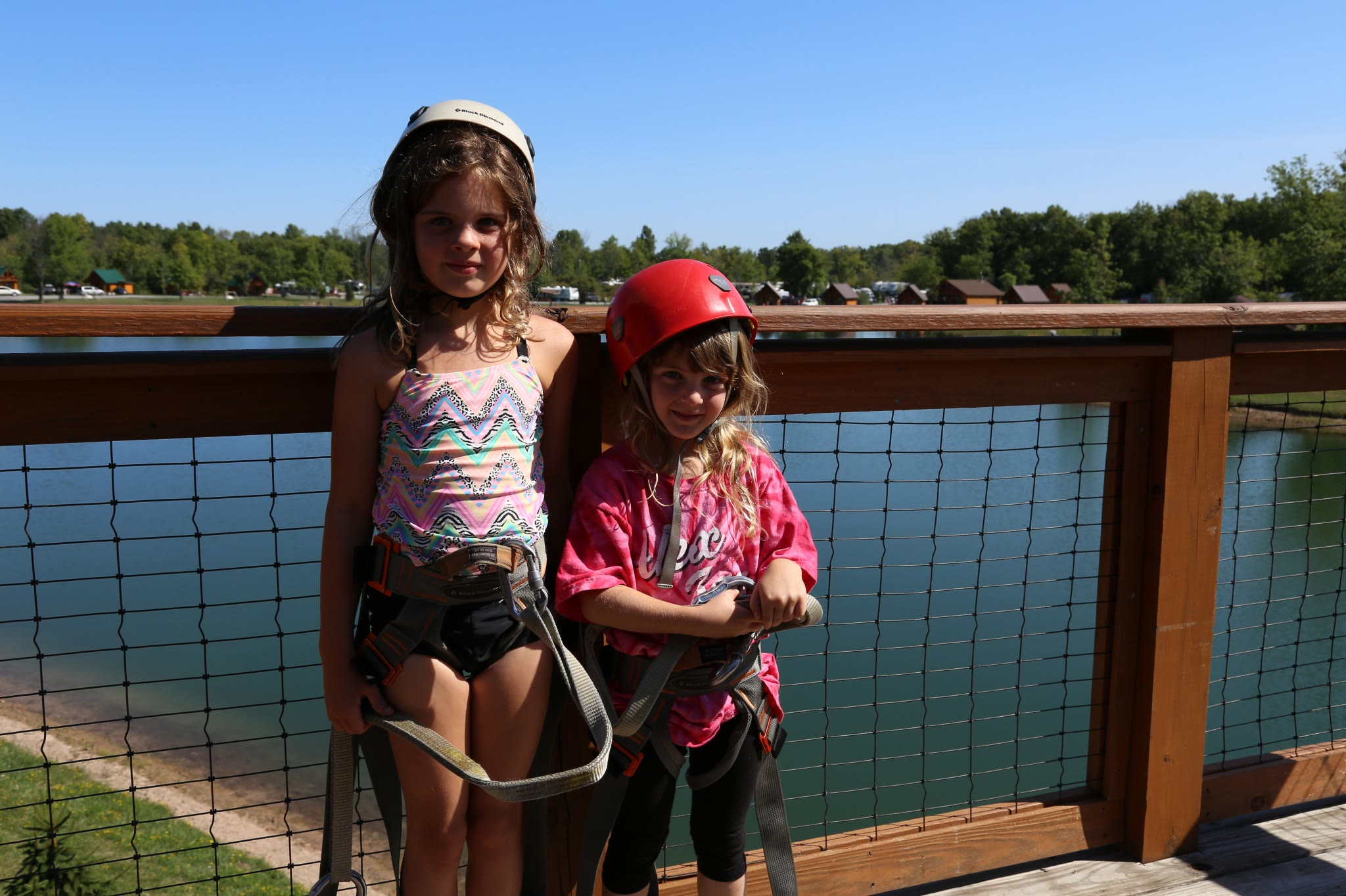 two girls in ziplining gear