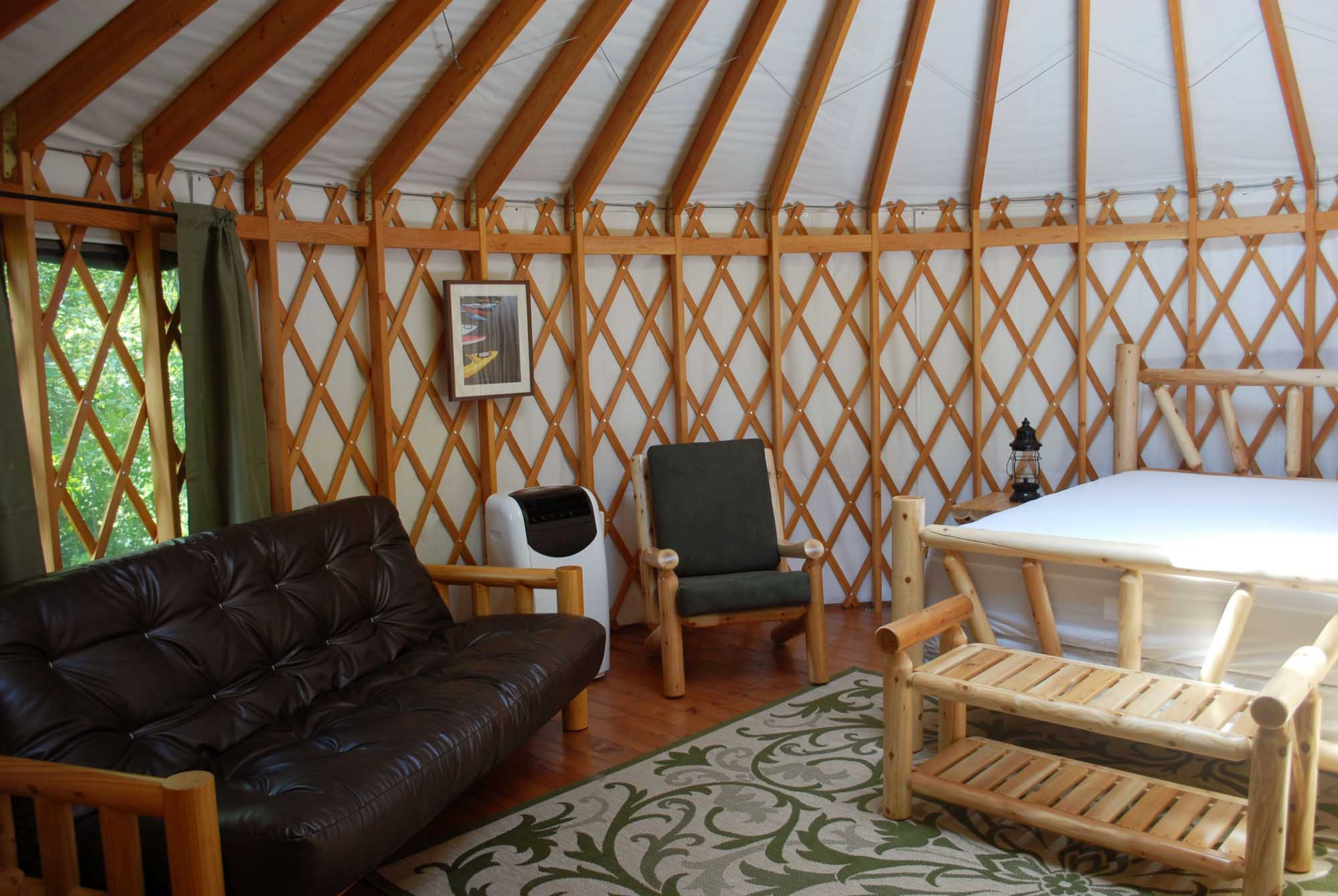 inside a yurt At Branches of Niagara campground