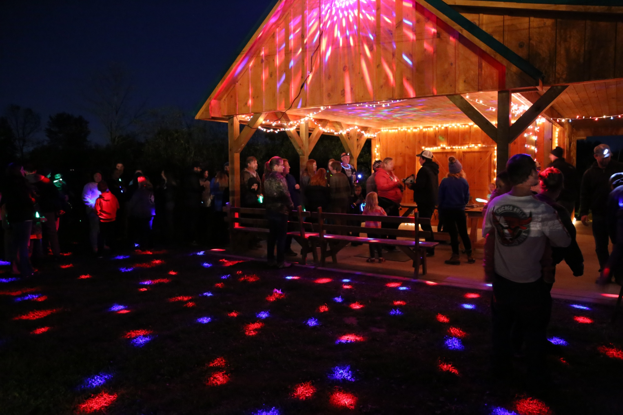 zipline hut disco lights