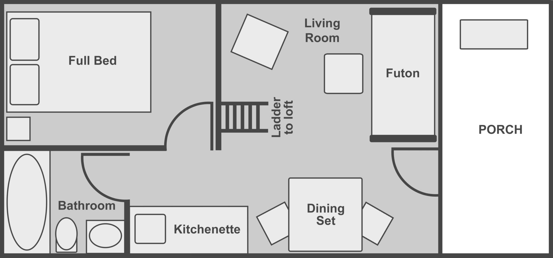 Floor plan of the deluxe cabin