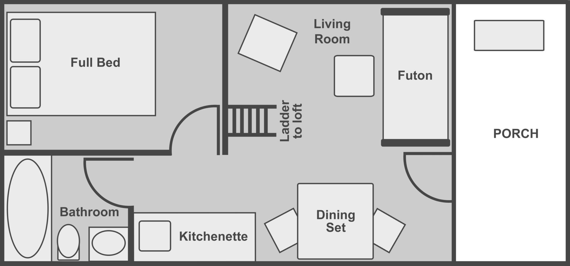 Floor plan of the deluxe cabin