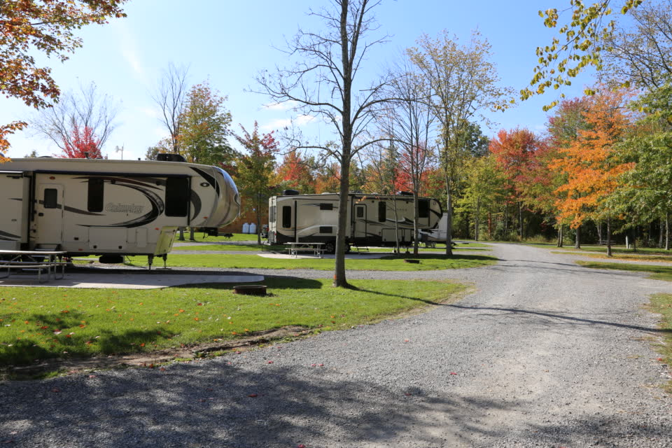 motorhome parked on campsite