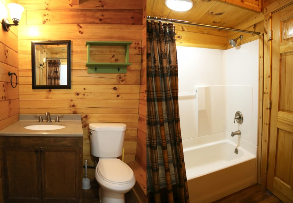 deluxe plus cabin bathroom with shower toilet and sink