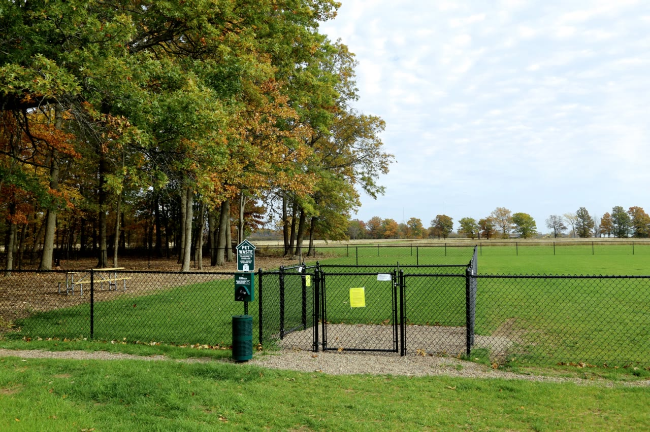 entrance to the dog park at Branches of Niagara campground