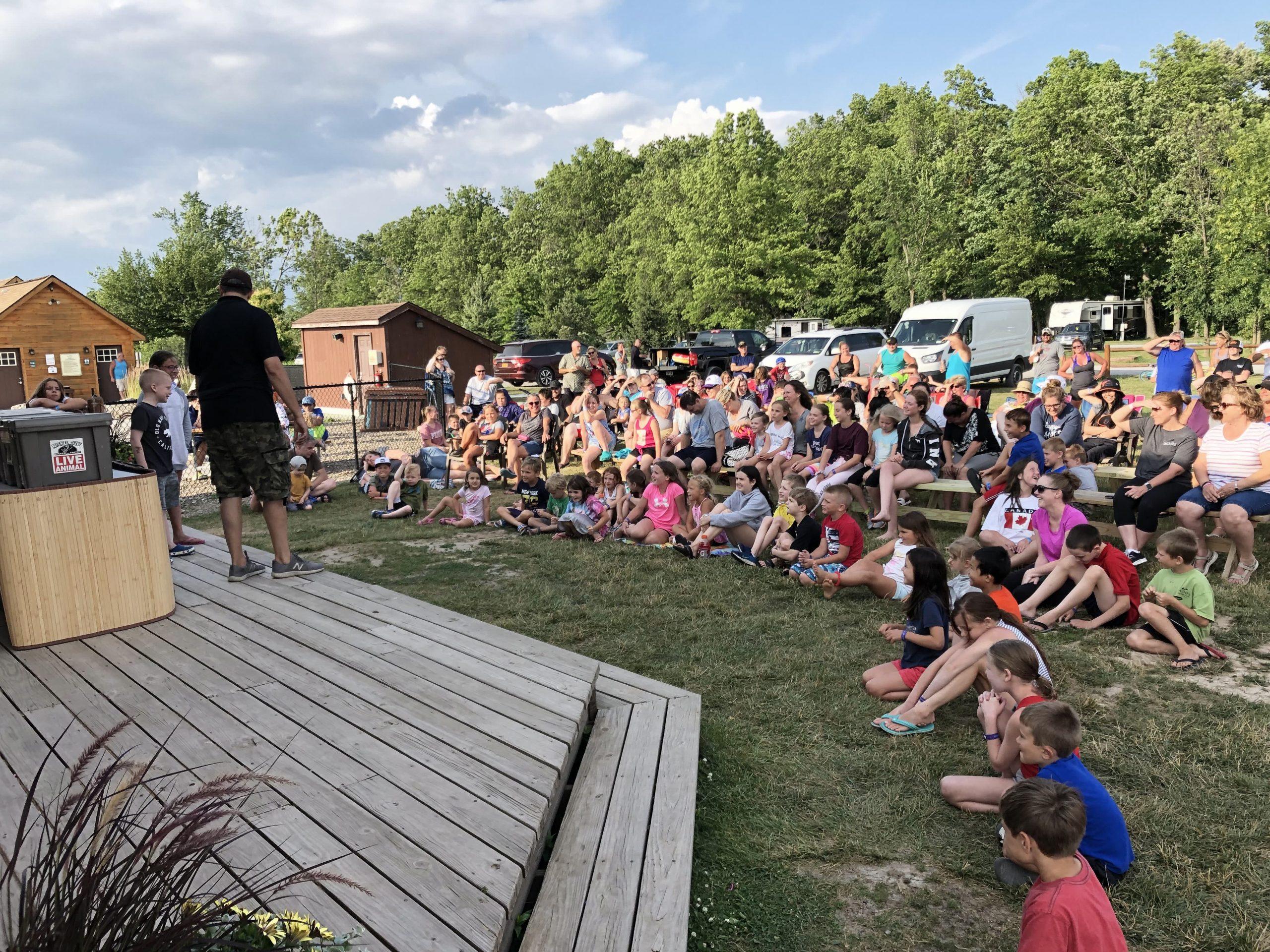 crowd sitting watching nickel city reptile