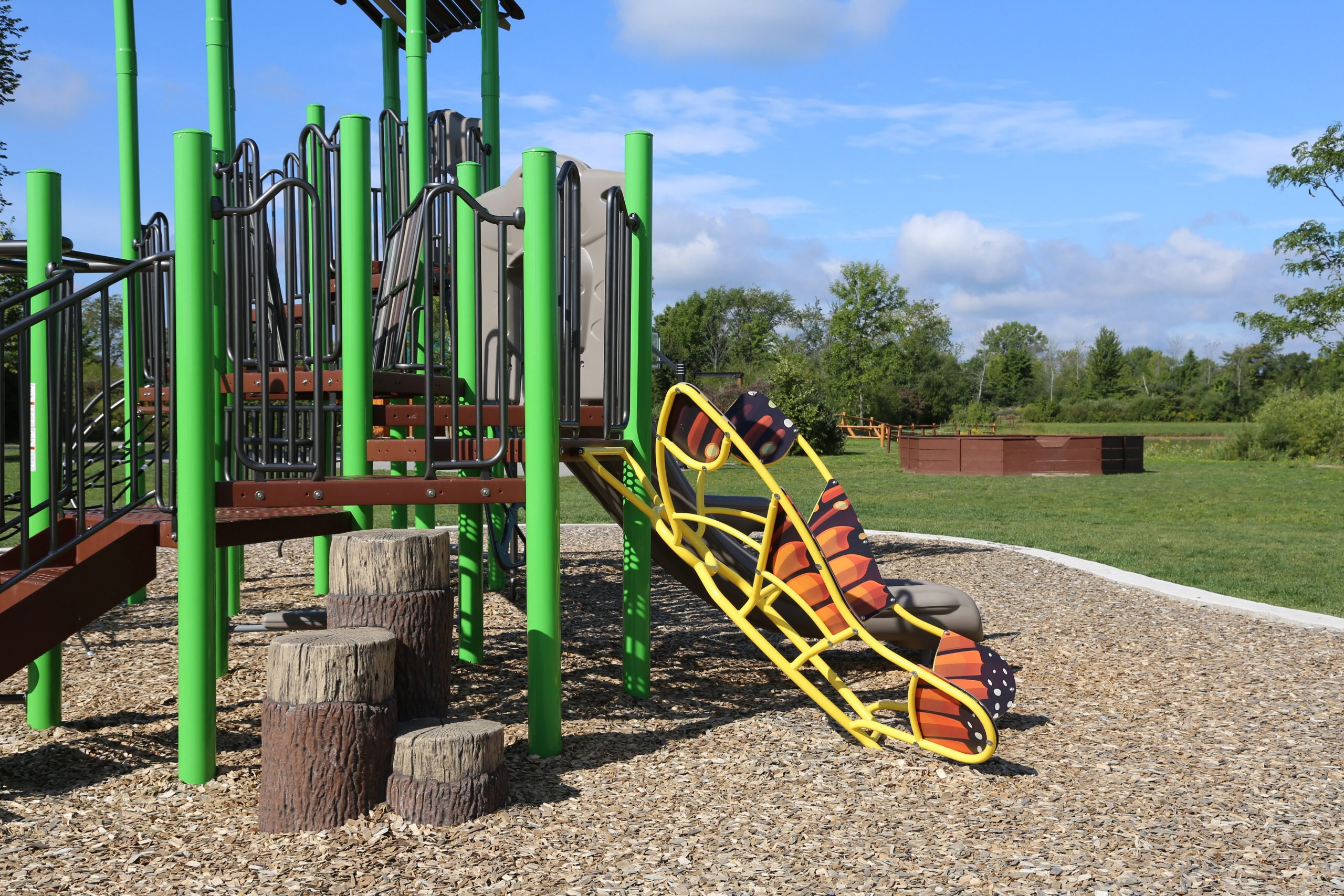 new playground with butterfly climber