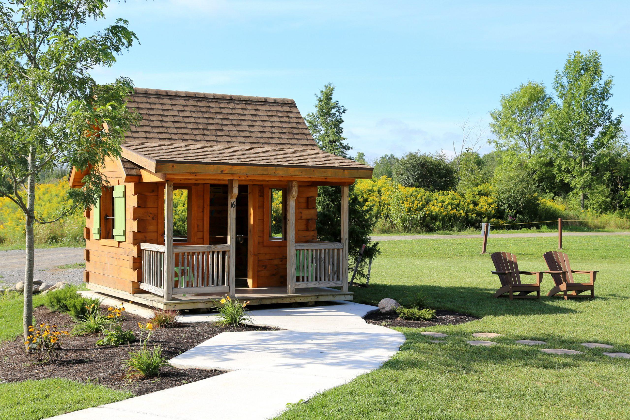log play house and walkway