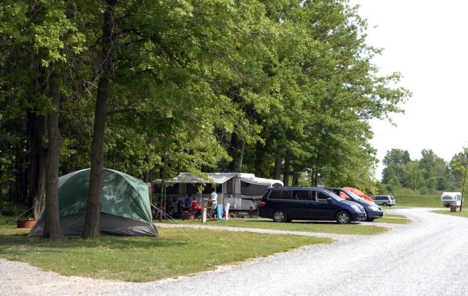 rv and tent on campsite
