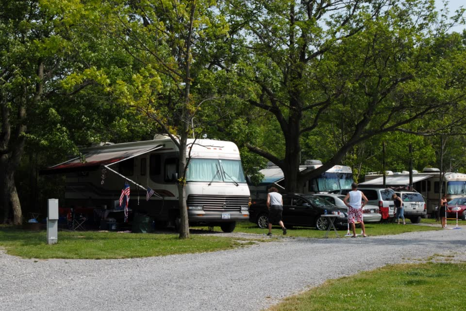 motorhome and campers on campsite
