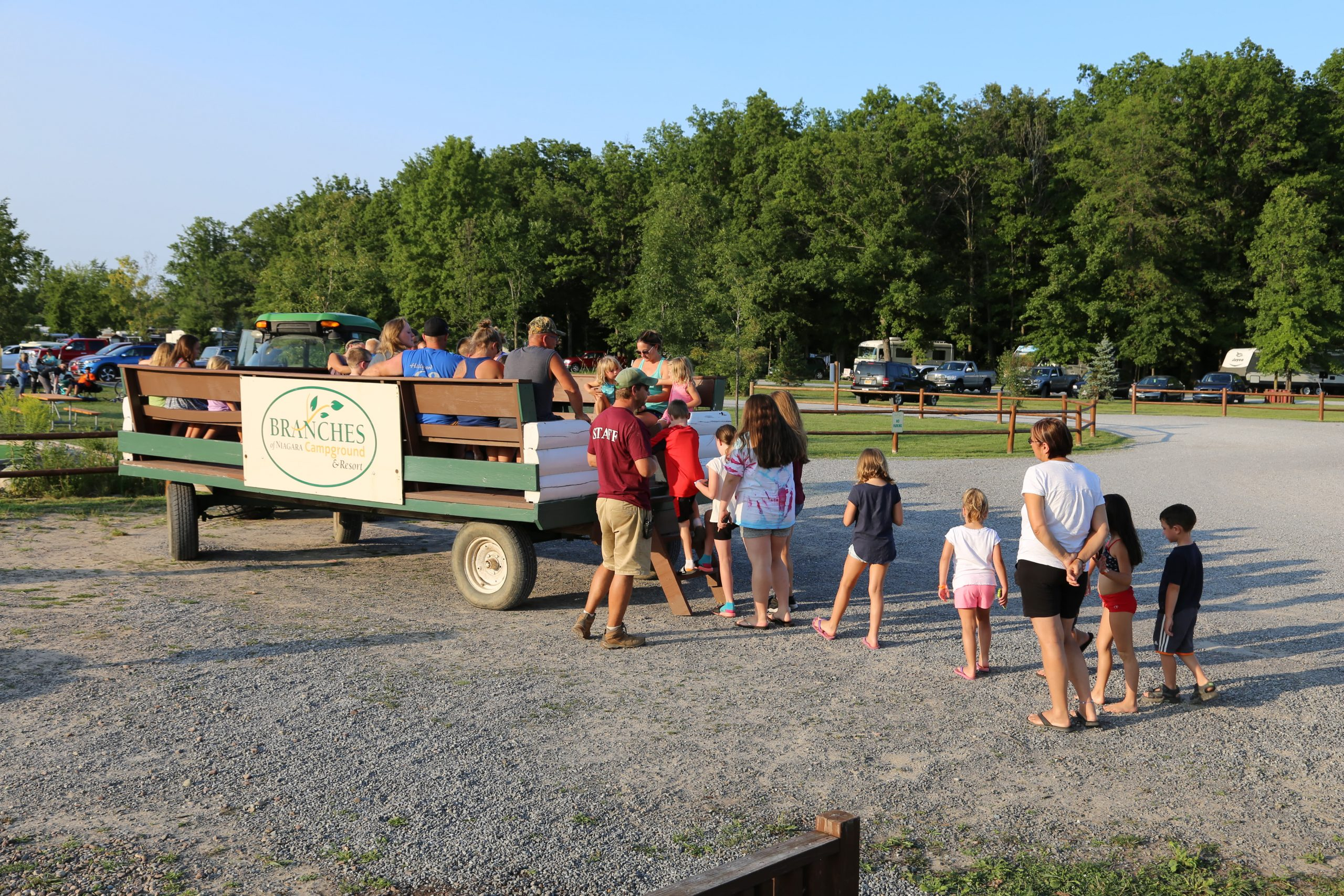 kids loading onto wagon